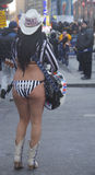 Alex, the Naked Cowgirl, entertains the crowd in Times Square during Super Bowl XLVIII week in Manhattan Stock Photos