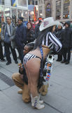 Alex, the Naked Cowgirl, entertains the crowd in Times Square during Super Bowl XLVIII week in Manhattan Stock Photo