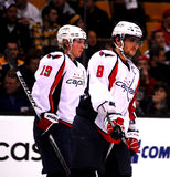 Alex Ovechkin and Nicklas Backstrom (Capitals). Washington Capitals forwards Alex Ovechkin (8) and Nicklas Backstrom (19 royalty free stock photography