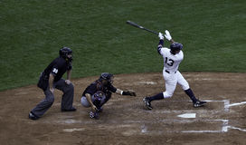 Alex Rodriguez hits a home run. Stock Image