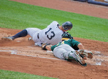 Alex Rodriguez Safe at Home Plate Stock Photo