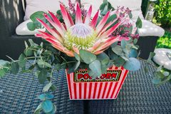 A protea flower bouquet in a popcorn bucket royalty free stock photo