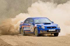 Alex Smirnov drives a Subaru Impreza Stock Photo