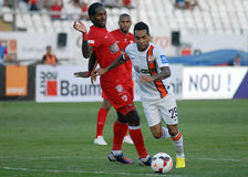 Alex Teixeira and Steven Thicot in Dinamo Bucharest-Shaktar Donetk Royalty Free Stock Images