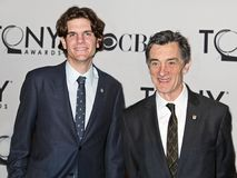 Alex Timbers and Roger Rees. Writer and director Alex Timbers and Welsh actor and director Roger Rees arrive for the 66th Annual Tony Awards Meet the Nominees Stock Images