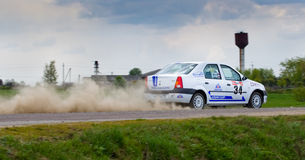 Alex Voronov drives a Renault Logan ca Stock Photos