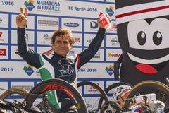 Alex Zanardi, the awards ceremony of the hand bike race. Stock Photos