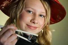 Alexa with chopsticks Royalty Free Stock Photography