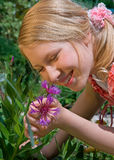 Alexa with flower Stock Photography