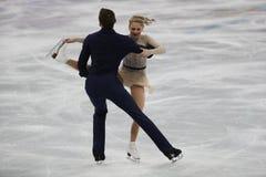 Alexa Scimeca Knierim und Chris Knierim der Vereinigten Staaten führen im Team Event Pair Skating Short-Programm durch Stockbild