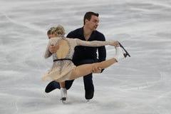 Alexa Scimeca Knierim und Chris Knierim der Vereinigten Staaten führen im Team Event Pair Skating Short-Programm durch Stockfoto