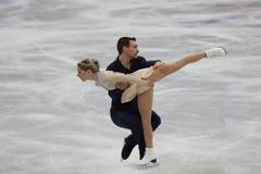 Alexa Scimeca Knierim y Chris Knierim de los Estados Unidos se realizan en el programa de Team Event Pair Skating Short Imagen de archivo libre de regalías