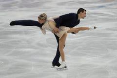 Alexa Scimeca Knierim y Chris Knierim de los Estados Unidos se realizan en el programa de Team Event Pair Skating Short Foto de archivo