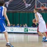 Alexander Anisimov. SAMARA, RUSSIA - NOVEMBER 27: Alexander Anisimov of BC Krasnye Krylia with ball attacking player of BC Irkut November 27, 2010 in Samara Stock Images