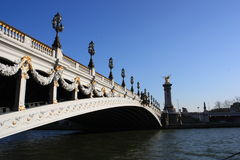 Alexander bridge over river Seine , paris Stock Photos