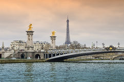 Alexander bridge in Paris, Eiffel Tower Royalty Free Stock Photography