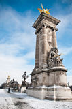 Alexander 3 bridge in paris by winter Royalty Free Stock Photography