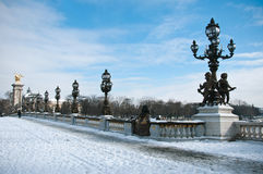 Alexander 3 bridge in paris by winter Stock Photo