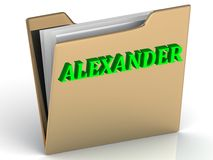 ALEXANDER- bright green letters on gold paperwork folder Stock Photos