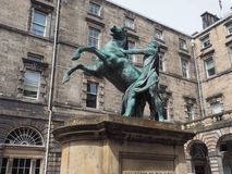 Alexander and Bucephalus statue in Edinburgh. Statue of Alexander the Great and his horse Bucephalus, made in 1884 by sculptor John Steell in Edinburgh, UK royalty free stock photography