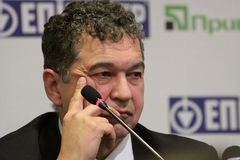 Alexander Chub at press conference Royalty Free Stock Photo