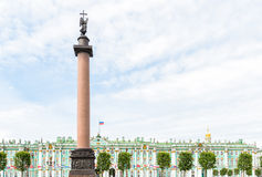 Alexander Column is the focal point of Palace Square Royalty Free Stock Images