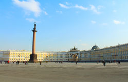Alexander column and General Staff building at Palace Square Royalty Free Stock Photo