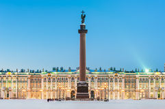 Alexander column and the Hermitage, St Petersburg, Russia Royalty Free Stock Photo