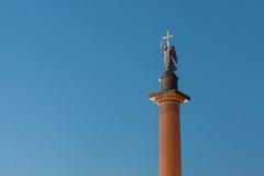 Alexander column in the night, Saint Petersburg Stock Images