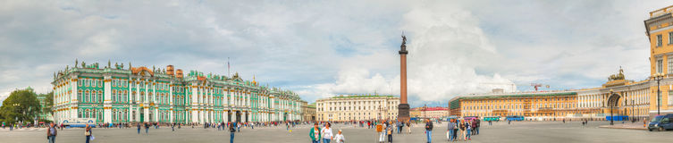 The Alexander Column at Palace (Dvortsovaya) Square in St. Peter Royalty Free Stock Photo