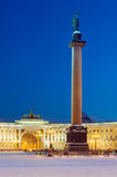 Alexander column on Palace square, St Petersburg, Russia Royalty Free Stock Photos
