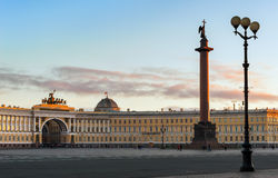 Alexander column on Palace square, St Petersburg, Russia Stock Images