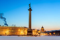 Alexander column on Palace square, St Petersburg, Russia Stock Image