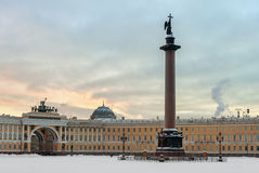 Alexander column on Palace square, St. Petersburg, Russia Stock Image