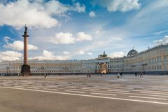 Alexander Column on Palace Square Stock Photo