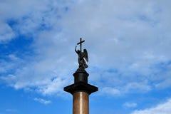 Alexander column in St. Petersburg stock images