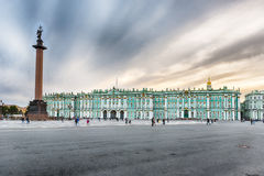 Alexander Column and Winter Palace in St. Petersburg, Russia Stock Image
