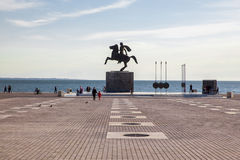 Alexander den stora statyn i Thessaloniki, Grekland Arkivfoto