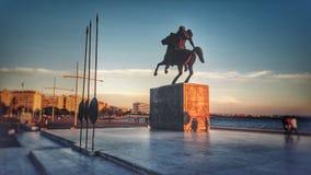 Alexander den stora statyn på Thessaloniki, Grekland arkivfoton