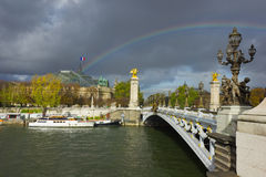Alexander den tredje bron, Paris Arkivbild