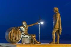 Alexander det stort möter filosofen Diogenes Arkivfoton