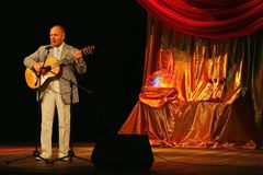 Alexander Dolsky on the Estrada theatre stage singing and reading poetry. Royalty Free Stock Images
