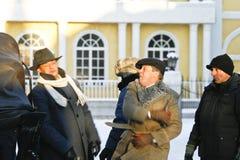 Alexander Domogarov, Mikhail Efremov. MOSCOW - JANUARY 23: Alexander Domogarov, Mikhail Efremov on shootings of a new film Moscow Criminal Investigation Stock Images