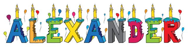 Alexander first name bitten colorful 3d lettering birthday cake with candles and balloons.  Royalty Free Stock Photos
