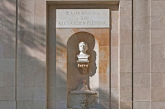 Alexander Fleming monument in Barcelona, Spain Stock Image