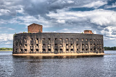 Alexander fort in the Gulf of Finland near Kronshtadt, Russia Royalty Free Stock Photography