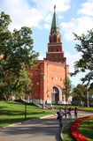 Alexander Garden and Borovitskaya Tower of Moscow Kremlin, Russia Stock Image