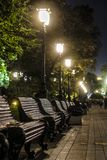 Alexander Garden em Moscou na noite foto de stock