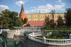 Alexander Garden, Manezhnaya Square and Moscow Kremlin Stock Images