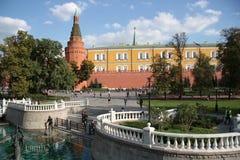 Alexander Garden, Manezhnaya Square and Moscow Kremlin Stock Images